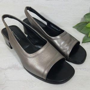 Rockport Metallic Silver Slingback Heeled Sandals